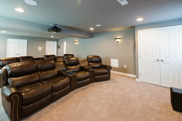 Leather Sofa in Family Room